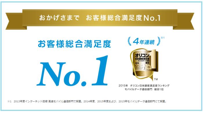 モバイルWiFI回線満足度4年連続No.1