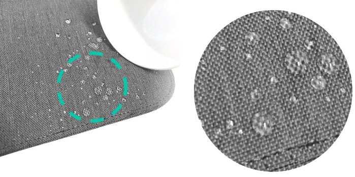 ケース表面にはLOEのノートパソコン用インナーケースで採用されているキャンバス生地の防滴素材