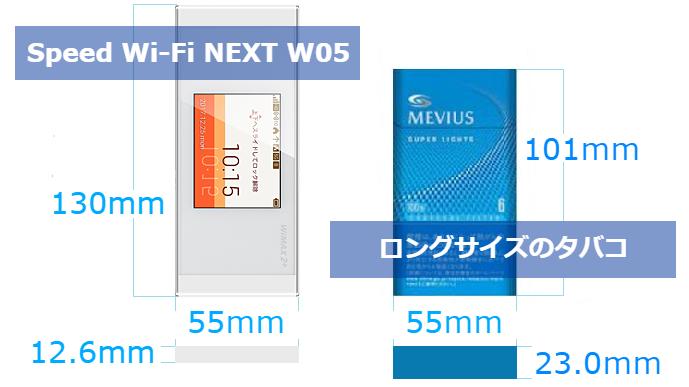 Speed Wi-Fi NEXT W05のサイズ詳細