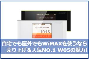 自宅でも屋外でもWiMAXを使うなら売り上げ&人気NO.1 W05の魅力!