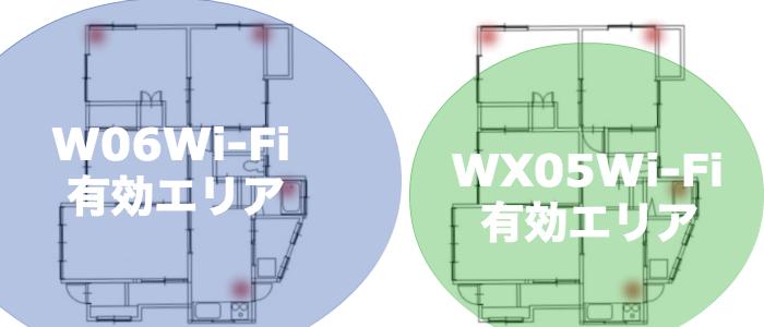W06とWX05のエリアの差