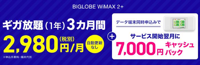 1年契約でWiMAXを申し込めるBIGLOBE!